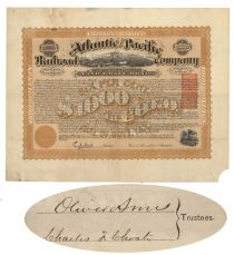 Atlantic & Pacific Railroad Co. Signed By Oliver Ames On Verso As Trustee