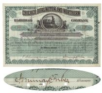 Chicago, Burlington & Northern Railroad Company Signed As Treasurer By John Murray Forbes