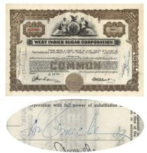 West Indies Sugar Corp. Issued To And Signed On Verso By Don Ameche