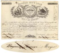 City Of Boston Loan Signed By Mayor Benjamin Seaver