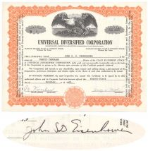 Universal Diversified Corp. Issued To And Signed On Verso By John Eisenhower, Son Of Ike