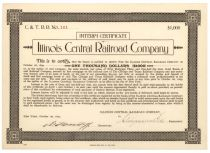 Illinois Central Railroad Company Signed By Stuyvesant Fish As President