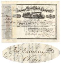 Lawrence Rail Road Company Issued To J.F.D. Lanier And Signed By Him On Verso