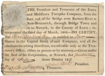 An Early Stock Certificate Issued To Elias Boudinot A President of Continental Congress And Signer Of The Peace Treaty Which Ended The War With Great Britain!
