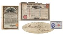 Very Rare New York & Erie Railroad Company Bond Signed On Verso By Millard Fillmore As Comptroller