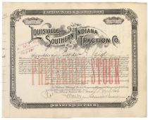 Louisville & Southern Indiana Tractions Co. Signed By Samuel Insull As President