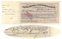 Railroad Stock Issued To Charles D. Barney & Co. And Signed By Charles Barney For The Company