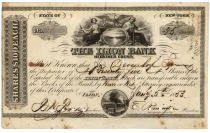 Ilion Bank Stock Signed As President By The Founder Of The Remington Gun Company Eliphalet Remington - One Of America's Most Important And Well Known Gun Makers