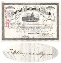 Central National Bank Issued To And Signed On Verso By Frank Vanderlip