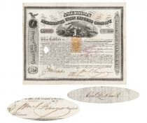 American Merchants Union Express Company Issued To And Signed On Verso By Philadelphia Refiner Charles Lockhart, Signed As President By William G. Fargo