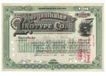 Mergenthaler Linotype Co. Issued To And Signed On Verso By William C. Whitney