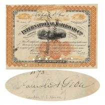International Railroad Co. Issued To And Signed On Verso By Galusha A. Grow