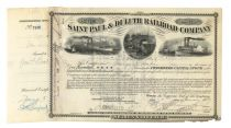 St. Paul & Duluth RR Issued To And Signed On Verso By George F. Baker