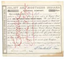 Joliet & Northern Indiana Rr Co. Stock Signed By Cornelius Vanderbilt As Vice President.