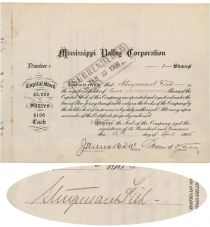 Mississippi Valley Corp. Stock Issued To And Signed On Verso By Stuyvesant Fish