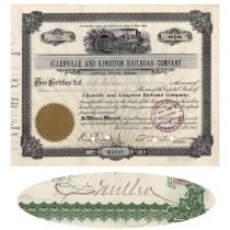 Ellenville & Kingston RR Co. Stock Issued To And Signed On Verso By Charles S. Mellen