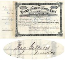 Rocky Fork & Cooke City Railway Co. Stock Issued To And Signed By Henry Villard