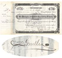 Washington & Columbia River Railway Co. Stock Issued To And Signed Twice By C.S. Mellen