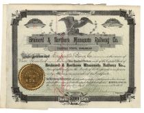 Brainerd & Northern Minnesota Railway Co. Stock Signed By John S. Pillsbury As President