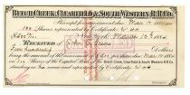 Beech Creek, Clearfield & South Western Rr Co. Receipt For Assessment Signed By Cornelius Vanderbilt As Treasurer