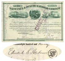 St. Paul & Duluth RR Co. Stock Issued To And Signed On Verso By Edward S. Harkness