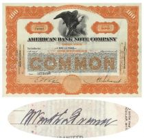 American Bank Note Co. Stock Issued To And Signed By A. Ward La France On Verso