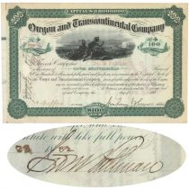 Oregon & Transcontinental Company Issued To And Signed On Verso By George M. Pullman