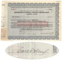 Rochester Central Power Corp. Issued To And Signed On Verso By Carl F. Lomb