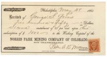 Norris Park Mining Company Of Colorado Signed By Peter A.B. Widener As Treasurer