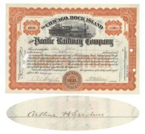 Chicago, Rock Island & Pacific Railway Co. Issued To And Signed On Verso By Arthur H. Scribner