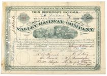 Valley Railway Company Signed By Jeptha Wade As President