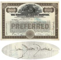 Wisconsin Edison Company Issued To And Signed On Vero By John F. Dulles