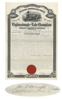 Odgensburgh & Lake Champlain Railroad Co. Signed By Stuyvesant Fish As Trustee