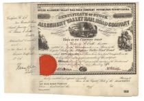 Allegheny Valley Rail Road Company Signed By Thomas A. Scott As Trustee