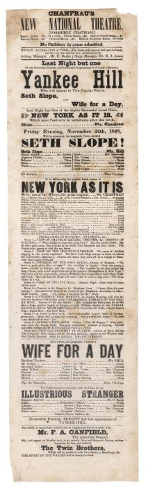 Chanfrau's New National Theatre Broadside