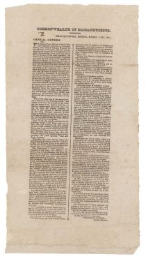 General Orders, Boston March 11, 1822 Concerning Military Court Martials