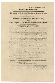 1821 Broadside Concerning Inspection And Review Of The Massachusetts Militia