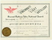 Railroad Executive Melville Ingall's Contributing Membership Certificate For The Cincinnati Light Artillery Of The Ohio National Guard