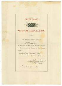 Cincinnati Museum Association Thanks M. E. Ingalls For His Donation Of A Portrait Of Charles W. West By Eastman Johnson