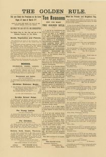 An Advertising Broadside For The Golden Rule Paper