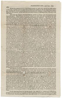 1808 Circular From George W. Campbell Decrying The Actions Of Britain And France As The War Of 1812 Looms