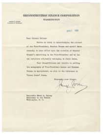 The Chairman of the Reconstruction Finance Corporation Writes to Senate Secretary Edwin A. Halsey During the Depths of the Great Depression On Reconstruction Finance Corporation Letterhead Discussing Jesse James' Revolvers