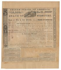 Missouri Governor And Confederate General Sterling Price Signs Some Missouri Bonds