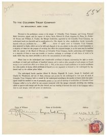 Harry Payne Whitney Signs A Banking Document