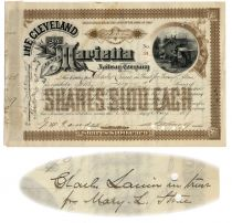 A Cleveland And Marietta Railway Company Issued To And Signed By Charles Lanier
