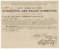 "An Interesting Civil War Document In Which The Notorious ""Boss Tweed"" Authorizes Payment For A Substitute Of A War Draftee"