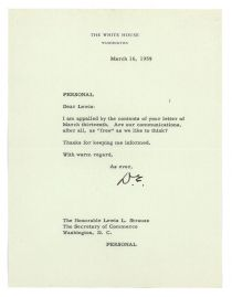 Eisenhower Writes To Commerce Secretary Lewis L. Strauss