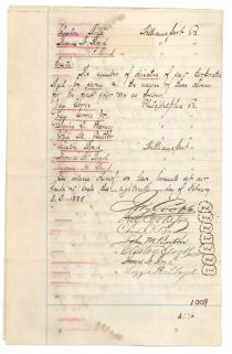 An Interesting Jay Cooke Signed Charter Of Incorporation Of The Ogontz Fishing Club Also Signed By Smith, Barney Founder Charles D. Barney