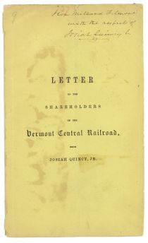 Printed Shareholders Letter Signed By Josiah Quincy Jr. For Presentation To Pres. Fillmore