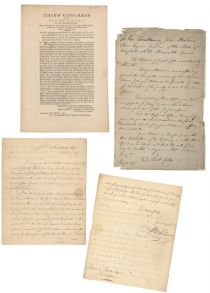 Three Items Related To The Whiskey Rebellion - A Choice Congressional Act Broadside Signed In Print By George Washwashington And John Adams For The Support Of The Military In Suppressing The Whiskey Rebellion Accompanied By Two Additonal Rebellion Items